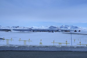 Ny-Ålesund as seen from the small plane landing strip.